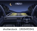 dashboard car driving in forest ... | Shutterstock .eps vector #1905495541