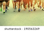 unidentified marathon athletes... | Shutterstock . vector #190563269