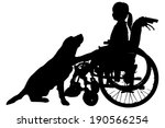 Stock vector vector silhouettes of girl in a wheelchair on a white background 190566254