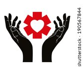hand with heart and emergency... | Shutterstock .eps vector #190567844