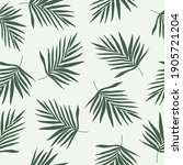 Green Palm Leaves Silhouette On ...