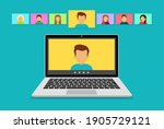 video conference with people... | Shutterstock .eps vector #1905729121
