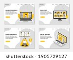 video conference landing page.... | Shutterstock .eps vector #1905729127