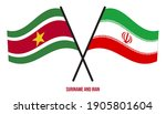 suriname and iran flags crossed ... | Shutterstock .eps vector #1905801604