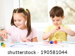 little children are painting... | Shutterstock . vector #190581044