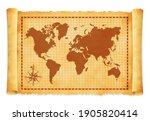 old vintage world map vector...   Shutterstock .eps vector #1905820414