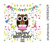 vector birthday party card with ... | Shutterstock .eps vector #190583429