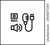 audio recording black icon...