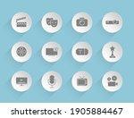 cinema vector icons on round...