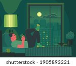 the man lies on the bed at... | Shutterstock .eps vector #1905893221