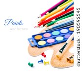 Colorful Paints And Crayons...