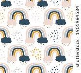 cute kids nursery rainbow...   Shutterstock .eps vector #1905964534