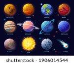 Solar System Planets Set. Moon  ...