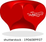 3 d red heart   outline drawing ... | Shutterstock .eps vector #1906089937