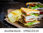 Stock photo club sandwich on rustic wooden background 190613114