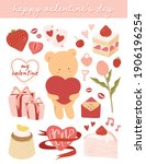 cute valentine's day elements... | Shutterstock .eps vector #1906196254