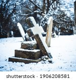 Snowy Old Grave Stone Cross...