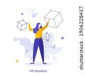 woman in vr headset exploring...   Shutterstock .eps vector #1906228417