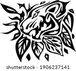 tribal tiger head with leaves.... | Shutterstock .eps vector #1906237141