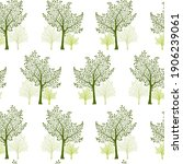 green pear trees silhouettes... | Shutterstock .eps vector #1906239061