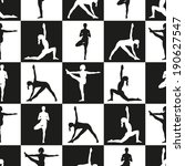 seamless pattern. yoga poses as ... | Shutterstock .eps vector #190627547