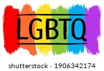 lgbtq sign with dry brush... | Shutterstock . vector #1906342174