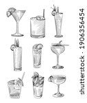 hand drawn sketch set of drinks ... | Shutterstock .eps vector #1906356454