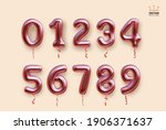 metallic rose  pink number... | Shutterstock .eps vector #1906371637
