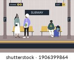 passengers waiting on a... | Shutterstock .eps vector #1906399864