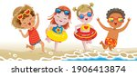 boys and little girl playing on ... | Shutterstock .eps vector #1906413874