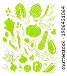 fresh veggies. big set of... | Shutterstock .eps vector #1906431064