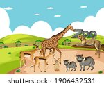 group of wild african animal in ... | Shutterstock .eps vector #1906432531