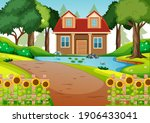 a house in nature scene... | Shutterstock .eps vector #1906433041
