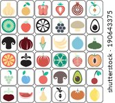 colorful food icons. fruit and... | Shutterstock .eps vector #190643375