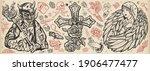 angel and demon. old school... | Shutterstock .eps vector #1906477477