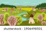 farm landscape vector hand... | Shutterstock .eps vector #1906498501