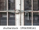 Iron Lock And Chain On An Old...