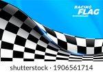 checkered flag flying on blue... | Shutterstock .eps vector #1906561714