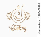home cooking linear logo with... | Shutterstock .eps vector #1906600981