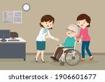 doctor and elderly man in wheel ... | Shutterstock .eps vector #1906601677