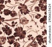 monochrome botanical background.... | Shutterstock . vector #1906615624