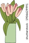 Pink Tulips In A Vase Bouquet...