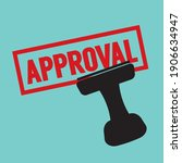 stamp approved in red text... | Shutterstock .eps vector #1906634947