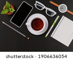 office desk with a cup of tea ... | Shutterstock . vector #1906636054