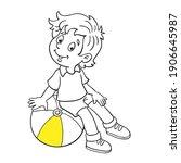 funny little boy sitting on a... | Shutterstock .eps vector #1906645987