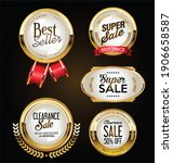 collection of golden badges... | Shutterstock . vector #1906658587