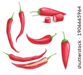chili pepper set in cartoon...   Shutterstock .eps vector #1906665964