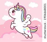 cute unicorn pegasus vector fly ... | Shutterstock .eps vector #1906668001