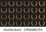 set of golden vector laurel... | Shutterstock .eps vector #1906680154