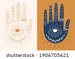 vintage boho hand outline and... | Shutterstock .eps vector #1906705621